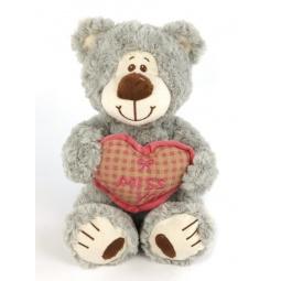 фото Мягкая игрушка Fluffy Family «Мишка Митя с сердцем». Размер: 25 см. Цвет: серый