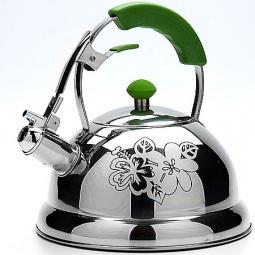 фото Чайник со свистком Mayer&Boch Thermo Print. Цвет: серебристый, зеленый