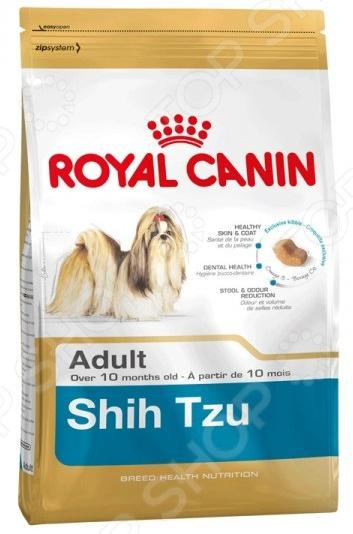 Корм сухой для собак породы ши-тцу Royal Canin Adult Shih TzuСухой корм<br>Корм сухой Royal Canin Adult Shih Tzu предназначен специально для собак породы ши-тцу. Эти изящные создания, которые некогда принадлежали исключительно членам китайской императорской династии, нуждаются в большом количестве аминокислот для того, чтобы их шерстка была здоровой, шелковистой и быстро росла. Стоит отметить, что ученым из компании Royal Canin удалось сохранить прекрасные вкусовые качества корма, поэтому ваш четвероногий друг будет в восторге от своего нового блюда. Преимущества корма Royal Canin Adult Shih Tzu:  Омега-3 и Омега-6 жирные кислоты улучшают состояние кожи и шерсти;  Специальная форма крокет для удобного захвата и разгрызания;  Уход за зубами и ротовой полостью;  Нормализация стула. Кормить собаку следует в соответствии со следующим руководством:      Вес собаки     4 кг     5 кг     6 кг     7 кг       Повышенная   активность     67 г     79 г     91 г     102 г       Пониженная   активность     78 г     92 г     105 г     118 г<br>