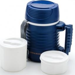 фото Термос с контейнерами Mayer&Boch Wavy. Объем: 1,3 л. Цвет: белый, синий