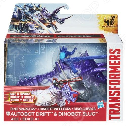 Конструктор-трансформер Робот-трансформер Hasbro A7681 «Дино Спарклс Дрифт и Слаг»
