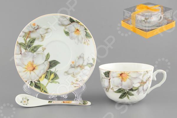 Чашка чайная с блюдцем и ложкой Elan Gallery «Белый шиповник» 730480 Elan Gallery - артикул: 534220