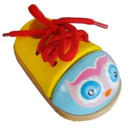 фото Игра развивающая для малыша Mapacha «Шнуровка-ботиночек. Совенок»