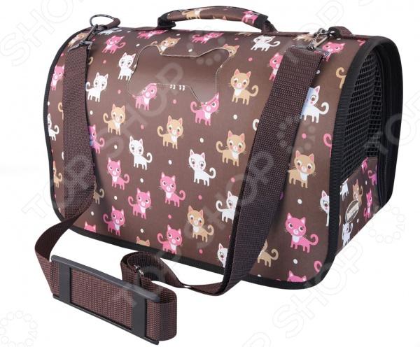 Сумка-переноска DEZZIE 5635443 это удобная сумка-переноска, которая имеет разборную конструкцию на застежке молнии. Подкладка на липучках, при необходимости можно снять и очистить. Короткая ручка для переноски подходит для ручной транспортировки, однако есть длинный ремешок на плечо. Торцевые стенки снабжены сетками для вентиляции, чтобы животное чувствовало себя комфортно. Внутри есть поводок для фиксации собаки. На дне сумки расположены четыре ножки для хорошей фиксации на любой поверхности. Сумка подойдет как для переноса маленькой собаки, так и кошки.