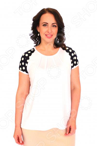 Блуза Матекс «Жемчужное чудо». Цвет: белыйБлузы. Рубашки<br>Блуза Матекс Жемчужное чудо это легкая и нежная блуза, которая поможет вам создавать невероятные образы, всегда оставаясь женственной и утонченной. Благодаря отличному дизайну она скроет недостатки фигуры и подчеркнет достоинства. Блуза прекрасно смотрится с брюками и юбками, а насыщенный цвет привлекает взгляд. В этой блузе вы будете чувствовать себя блистательно как на работе, так и на вечерней прогулке по городу. Свободный крой и универсальная длина до середины бедра делают блузу одеждой на все случаи жизни, а удобные короткие рукава скрывают полноту плеч. Спереди изделия сделаны вытачки, в качестве декоративного элемента. На фотографии блуза представлена с юбкой Венера . Блуза изготовлена из мягкой ткани 95 вискоза, 5 полиэстер, вставки: 65 вискоза, 30 полиэстер, 5 лайкра , благодаря чему материал не скатывается и не линяет после стирки.<br>