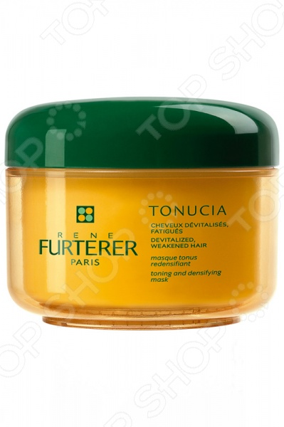 Маска для волос Rene Furterer Tonucia Tonucia Masque Tonus Redensifiant Cheveux Fins Et Fatigues это замечательное средство по уходу за кожей и волосами, ведь оно питает и успокаивает, что так необходимо после трудового дня. Увлажняющая и освежающая кожу маска с инновационной текстурой в виде прозрачного и бесцветного геля. Решает проблемы кожи, страдающей от холода, загрязнений окружающей среды, дождя или снега. Под действием этой маски ваши волосы будут надежно защищена от воздействий окружающей среды, идеально подходит для обезвоженной кожи:  интенсивно увлажняет кожу и ускоряет клеточную регенерацию;  смягчающее действие;  микропротеины пшеницы обволакивают волос, увеличивая диаметр;  витаминный комплекс с витамином F, глицине сои и фитостеринами восстанавливает внутриклеточный цемент, который устраняет спутанность волос. Способ применения: нанести толстым слоем на очищенные волосы на 15 минут, после чего смыть. Рекомендуется использовать два раза в неделю.