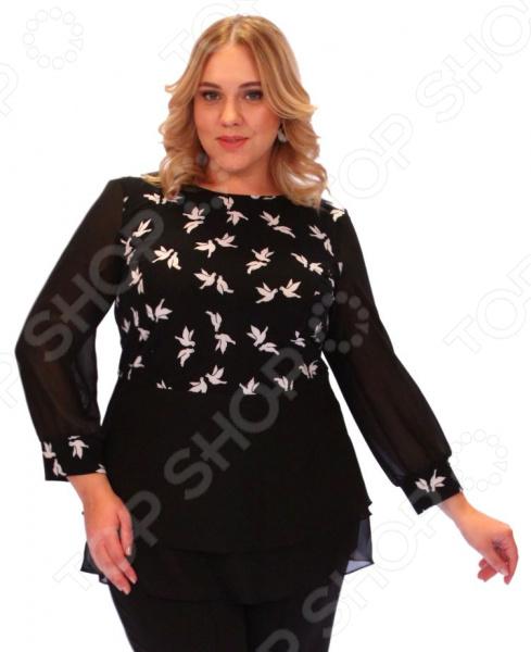 Блуза Элеганс «Голубка»Блузы. Рубашки<br>Блуза Элеганс Голубка это легкая и нежная блуза, которая поможет вам создавать невероятные образы, всегда оставаясь женственной и утонченной. Благодаря необычному дизайну блуза скрывает любые недостатки фигуры. Блуза прекрасно смотрится с брюками и юбками, а насыщенный цвет привлекает взгляд. Гармоничное сочетание цветов и фактур делают эту модель привлекательной и эффектной. Благодаря грамотному дизайну удобной длине до середины бедра блуза идеально смотрится на женщинах с любым типом фигуры и любого возраста. Круглый вырез горловины визуально удлинит горло и подчеркнет плавность черт. Манжеты выполнены из той же ткани, что и верх блузы. Шифоновые рукава скроют недостатки в области рук и плеч. Главной изюминкой блузы является шифоновая баска. Блуза изготовлена из приятного трикотажа полиэстер 95 и эластан 5 и шифона 100 полиэстер , благодаря чему материал не скатывается и не линяет после стирки. Полиэстер предохраняет вещь от измятия и быстро высыхает после стирки. Даже после длительных стирок и использования эта блуза будет выглядеть идеально. Материал является антистатическим и обладает хорошей воздухопроницаемостью. Швы обработаны текстурированными, эластичными нитями, благодаря чему не тянутся и не натирают кожу.<br>