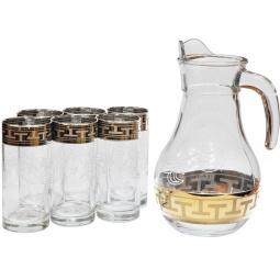 Набор: кувшин и 6 стаканов Гусь Хрустальный «Греческий Узор»