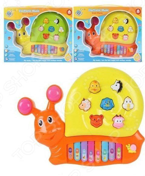 Орган игрушечный со светозвуковыми эффектами Shantou Gepai «Улитка» 223. В ассортиментеИгрушечные музыкальные инструменты<br>Товар продается в ассортименте. Цвет изделия при комплектации заказа зависит от наличия товарного ассортимента на складе. Орган игрушечный со светозвуковыми эффектами Shantou Gepai Улитка 223 - прекрасная развивающая игрушка в виде музыкальной улитки, которая идеально подходит для малышей. Она поможет развить у малыша не только музыкальный слух и звуковое восприятие, но и поспособствует гармоничному развитию фантазии, координации движений, мелкой моторики рук, воображения. Все что нужно малышу, это нажимать на разноцветные клавиши и кнопки в виде различных мордочек животных. Малыш сможет прослужить звуки животных, различные нотки и демо-мелодии. Игрушка работает от 3 батареек типа АА в комплект не входят .<br>