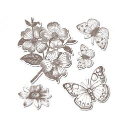 фото Форма-трафарет для вырубки и штамп Sizzix Framelits Die Бабочки 3 и Stamp