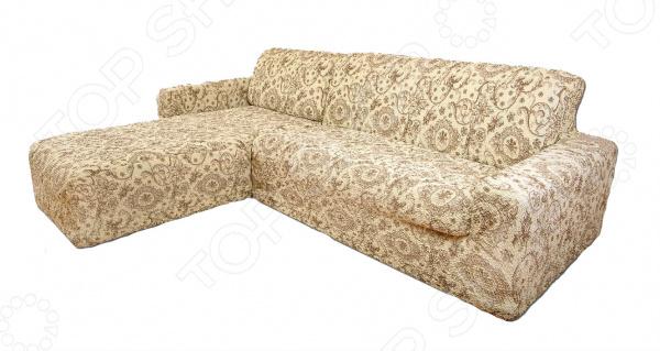 Натяжной чехол на угловой диван с выступом слева «Виста. Флоренция»Чехлы на диваны<br>Ваша старая мебель перестала радовать глаз Не торопитесь её выкидывать, лучше задумайтесь о покупке съемного, натяжного чехла! Он позволит подарить старой мебели вторую жизнь и вернуть былую привлекательность. К тому же, такие практичные чехлы не только позволят менять интерьер в зависимости от вашего настроения, времени года и торжества, но и надежно защитят поверхность мягкой мебели от бытового протирания, случайных пятен и шерсти домашних животных.  Привнесите в интерьер что-то новое! Натяжной чехол на угловой диван с выступом слева Виста. Флоренция идеальный выбор для тех, кто ценит классику, элегантность и практичность. Чехол Флоренция является одной из самых популярных моделей серии Виста. И не удивительно! Светлый бежевый фон и кремовый рисунок делают эту модель особенно актуальной. Природные цвета нежных, ненавязчивых оттенков, роскошный итальянский орнамент добавляют интерьеру благородство и элегантность. Теплая гамма гармонично сочетается с интерьерными элементами различных цветов! Натяжной чехол Флоренция прекрасно дополнит классические и неоклассические интерьеры, а также интерьеры с использованием элементов французского, английского и романтического стилей. Комбинируйте, экспериментируйте, этот натяжной чехол для вашего дивана будет смотреться всегда роскошно и уютно. Можно использовать в гостиной, детской, прихожей, спальне и кухне.  Сядет точно по фигуре ! Уникальность данного чехла заключается в том, что его можно использовать с любыми угловыми диванами с выступами слева. Он отлично сядет даже на диваны нестандартных форм и габаритов, например, с объемными и необычными подлокотниками, высокой, объемной спинкой. Прочный и качественный материал, из которого выполнен чехол, прекрасно тянется за счет добавления эластичных нитей. Цельная конструкция чехла полностью облегает диван, а излишки ткани можно легко спрятать на стыках между спинкой и сиденьем. Уникальная ткань т
