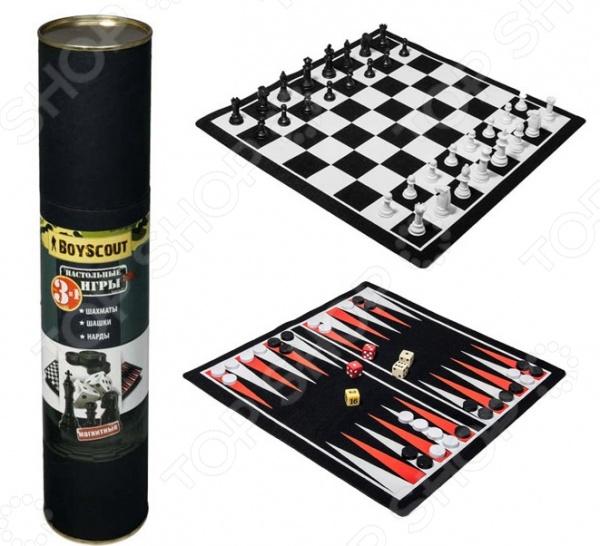 Набор 3 в 1 магнитный: шахматы, шашки, нарды Boyscout 61454 настольная игра boyscout шахматы