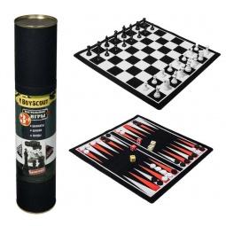 фото Набор 3 в 1 магнитный: шахматы, шашки, нарды Boyscout 61454