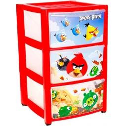 фото Комод 3-х секционный ТЦ Бытпласт Angry Birds. Цвет: красный