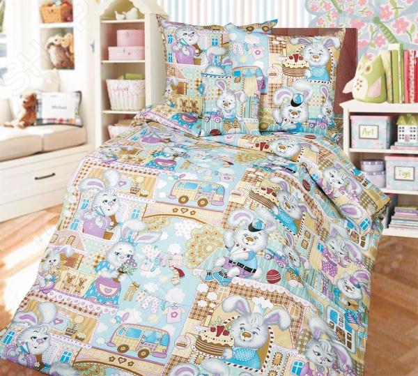 Ясельный комплект постельного белья Бамбино «Зайкин город»