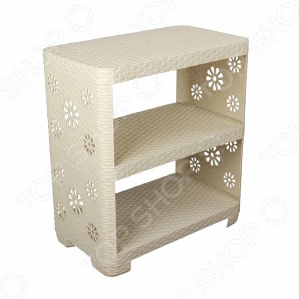 Этажерка универсальная Альтернатива - универсальная этажерка с 3-мя полками, которая будет хорошо смотреться как в прихожей, так и на кухне или ванной. Выполнена из качественного пластика, который легко очищается и быстро сушится. Оригинальный дизайн этажерки будет смотреться с любым интерьером. Вместительность полки понравится каждой хозяюшке. Легкий вес позволяет удобно переносить этажерку с места на место по необходимости.