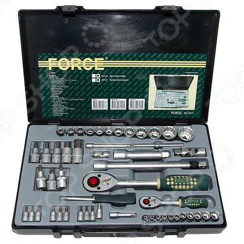 Набор с торцевыми головками и битами Force F-4511 унив набор торцевых головок jonnesway 1 4dr 4 13 мм и 1 2dr 8 32 мм комбинированных ключей 6 32 мм и отверток 128 предметов