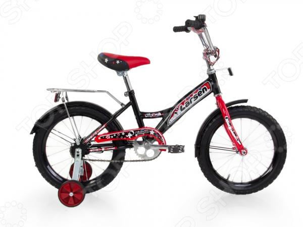 Велосипед детский Larsen Kids16 2016 годаВелосипеды подростковые и детские<br>Велосипед детский Larsen Kids 16 2016 года прекрасное решение для детей в возрасте от 4 до 6 лет и ростом до 125 см, которые только учатся кататься на велосипеде или уже умеют. Для начинающих велосипедистов предусмотрены боковые поддерживающие съемные колеса. Основные колеса имеют крупный рельефный протектор, который обеспечивает прекрасное сцепление даже с неровной дорогой. Мягкое и удобное сиденье не будет натирать или причинять дискомфорт даже после целого дня активного катания. Современный дизайн с яркими и насыщенными цветами, надежная и прочная конструкция придется по вкусу любому ребенку. Другие преимущества данной модели велосипеда:  прочная металлическая рама;  мягкое и упругое сиденье регулируется по высоте;  жесткая стальная вилка устойчива к воздействию коррозии и механическим повреждениям;  страховочные колеса можно при желании снять;  ножной педальный тормоз отличается простотой в использовании, надежностью и исправностью;  накладка на руль предохраняет детские ручки от мозолей и натирания. Велосипед детский Larsen Kids 16 2016 года года имеет защищенный планкой цепной механизм, что не позволяет одежде случайно туда попасть и запутаться. Пластиковые крылья не дадут грязи запачкать одежду, если вдруг во время катания малышка проедется по луже или грязи. Приятными дополнениями служат громкий звонок и удобный багажник.<br>