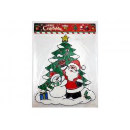 фото Новогодняя наклейка на стекло Crystal Deco «Новогодняя елочка с Сантой и Снеговиком»