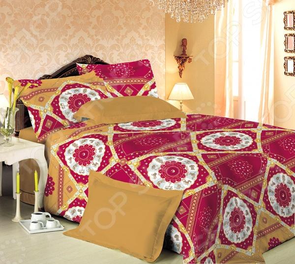 Комплект постельного белья Королевское Искушение «Космос». 2-спальный2-спальные<br>Здоровый и комфортный сон зависит не только от того насколько ваш матрас и подушка мягкие и удобные, но и, не в последнюю очередь, от того на каком постельном белье вы спите ежедневно. Очень важно при выборе постельного белья ориентироваться не только на его цену и яркий дизайн, но и на качество, и тонкость материала. Жесткие и плотные ткани, пусть даже и натуральные, не подходят для ежедневного использования, ведь они могут причинить коже удивительный дискомфорт, вызвав её покраснения и раздражения. Комплект постельного белья Королевское Искушение Космос относится к постельному белью перкалевой группы, которая является идеальным решением для повседневного использования. При производстве этого материала плотного полотняного переплетения, используются некрученые плотные и тонкие нити из длинноволокнистого хлопка. Их сочетание делает перкаль одновременно тонким и прочным. Поэтому в отличии от постельного белья произведенного из бязи, данный комплект будет более гладким, мягким и шелковистым на ощупь. На таком постельном белье не будут возникать катышки, которые делают его не только не привлекательным, но и очень неудобным. Преимущества постельного белья Королевское Искушение Космос :  натуральность и экологичность материалов;  долговечность, прочность и износостойкость белья;  легкий и комфортный сон в любой сезон;  приемлемая цена. Другой особенностью комплекта постельного белья Королевское Искушение Космос является стильный и современный дизайн, который придется по вкусу даже самым взыскательным ценителям стиля, красоты и практичности. Яркий и красочный принт будет достойным украшением уютного интерьера вашей спальни. Он подарит ей немного тепла и восточной загадочности. Цветной рисунок не будет терять своей яркости и точности даже после многочисленных стирок и использования. Для того чтобы постельное белье прослужило как можно дольше, рекомендуется:  стирать при температуре не выше 3