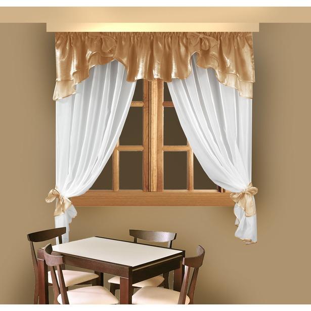 фото Комплект штор для кухни Zlata Korunka Б029. Цвет: белый, коричневый