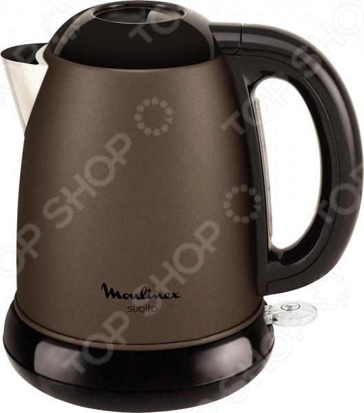 Чайник Moulinex Subito IIIЧайники электрические<br>Удобный и простой в использовании чайник Moulinex Subito III изготовлен из высококачественной нержавеющей стали. Корпус из стали долговечен, не подвергается коррозии и обладает антиаллергенными свойствами. Благодаря мощности в 2400 Вт и нагревательному элементу скрытого типа быстро вскипятит воду объемом до 1,7 литра. Модель оснащена световым индикатором включения выключения, шкалой уровня воды и фильтром против накипи. Цоколь с центральным контактом позволяет поворачивать прибор на 360 . Кабель удобно сворачивать и хранить в подставке. В целях безопасности имеются функции блокировки включения без воды и автоотключения при закипании. Благодаря стильному дизайну, чайник Moulinex Subito III впишется в любую современную кухню.<br>