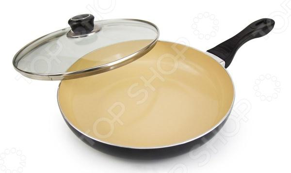 Сковорода Galaxy GL 9817Сковороды<br>Сковорода Galaxy GL 9817 удобная и практичная в использовании посуда, которая позволит вам раскрыть все ваши кулинарные таланты. Эргономичная бакелитовая ручка не снимается и не нагревается, что обеспечивает дополнительное удобство при приготовлении пищи. Прочные стенки и термоаккумулирующее дно быстро нагреваются и равномерно распределяют тепло, не давая продуктам пригореть. Специальное керамическое покрытие Excilon препятствует прилипанию и пригоранию продуктов. Данное покрытие отличается удивительными антипригарными свойствами, которые позволяют готовить без использования большого количества масла. Это делает блюда не только более здоровыми и полезными, но и очень вкусными и ароматными. Алюминиевая сковородка отличается своей универсальностью, так как подходит для различных источников тепла: для стеклокерамических, газовых, электрических плит и даже индукционных. В комплекте имеется прозрачная крышка из жаропрочного стекла.<br>