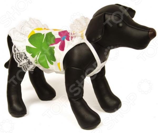 Платье для собак DEZZIE «Джини»Одежда для собак<br>Платье для собак DEZZIE Джини прекрасный выбор для вашего любимого питомца. Модель отличается стильным современным дизайном и великолепным качеством пошива. Платьице выполнено в яркой цветовой гамме. Модель декорирована цветочным принтом и кружевными вставками.<br>
