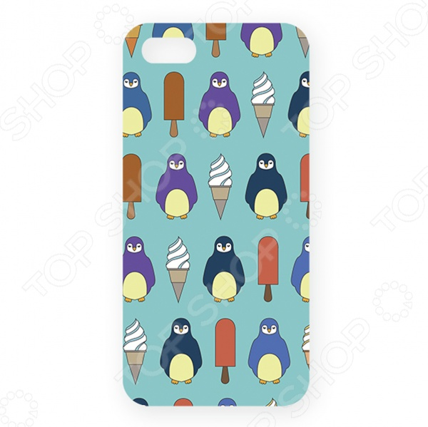 Чехол для iPhone 5 Mitya Veselkov «Пингвины и эскимо» цена и фото