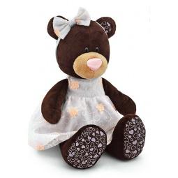 фото Мягкая игрушка Orange сидячая в платье с вышивкой Milk «Медведь». Размер: 25 см