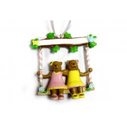 фото Елочное украшение Crystal Deco «Мишки качаются на качелях»