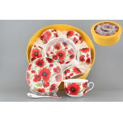 Купить Чайный набор с ложками Elan Gallery «Маки». Количество предметов: 18