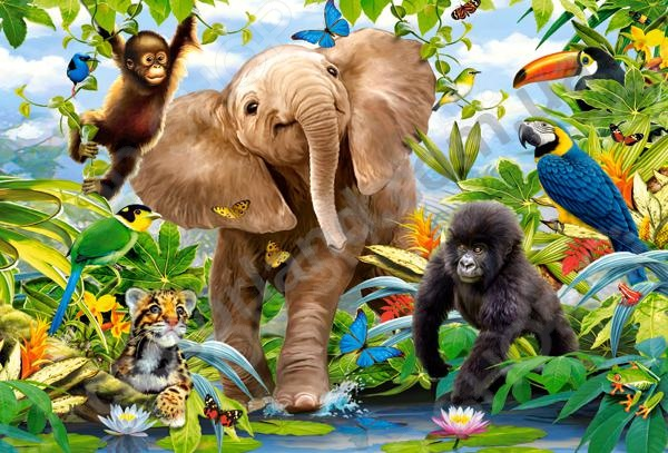 Пазл 40 элементов Castorland «Малыши из джунглей»Пазлы (31–100 элементов)<br>Пазл 40 элементов Castorland Малыши из джунглей - панорамный яркий и красочный пазл, с изображением нескольких разновидностей дитенышей животных из джунглей. Предназначен пазл для детей и для их веселого времяпрепровождения. Такая игра способствует развитию логического мышления, учит различать предметы по цвету, форме и развивает мелкую моторику рук ребенка. Такой пазл станет отличным подарком для вашего ребенка. Также готовый пазл можно будет разместить в качестве декоративной картины в любой комнате. Необычный дизайн подойдет под любой интерьер и добавит в него своеобразную изюминку.<br>