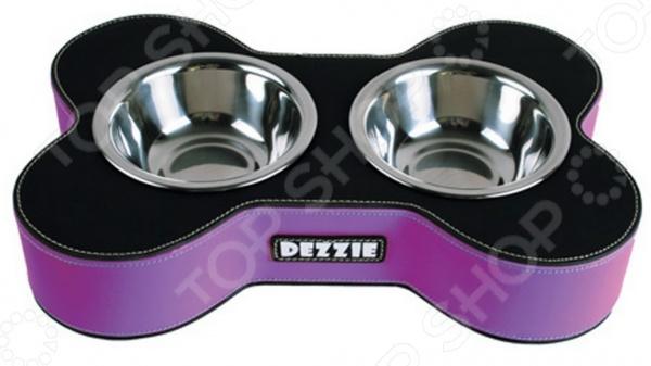 Миска для собак двойная DEZZIE «Кость». Цвет: сиреневый
