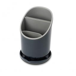 фото Сушилка для столовых приборов со сливом Joseph Joseph Dock. Цвет: темно-серый, светло-серый