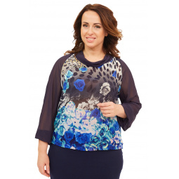 Блуза СВМ-ПРИНТ «Авива». Цвет: синий