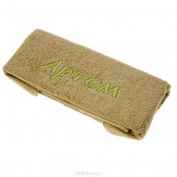 фото Полотенце подарочное с вышивкой TAC Артем. Цвет: хаки