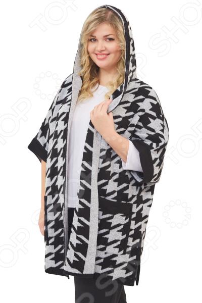 Пончо Milana Style «Сильвия»Верхняя одежда<br>Пончо Milana Style Сильвия сшито с учетом всех особенностей женской фигуры. Оно идеально подойдет для женщин любого возраста и комплекции. Продуманный дизайн изделия позволяет скрыть недостатки и подчеркнуть достоинства фигуры.  Пончо свободного силуэта с короткими рукавами и капюшоном.  Предусмотрены объемные накладные карманы.  Модель элегантно украшена функциональной булавкой.  Всеми любимый узор гусиные лапки порадует любую модницу. Широкая однотонная окантовка по деталям подчеркивает силуэт модели.  На фотографии пальто представлено в сочетании с брюками Уран и блузой Тутси . Пончо изготовлено из мягкой буклированой пряжи, состоящей на 50 из акрила и на 50 из шерсти. Материал не линяет, не скатывается, формы от стирки не теряет.<br>