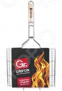 Решетка-гриль средняя GRIFON 600-002Решетки для гриля и шампуры<br>Решетка-гриль средняя GRIFON 600-002 для приготовления барбекю из рыбы на открытом воздухе. С ее помощью можно зажаривать и запекать практически все, а также она прекрасно подойдет для мангалов. Выполнена из высококачественной стали с пищевым покрытием. Увеличенные опорные стержни обеспечивают устойчивое положение на мангале или барбекю и позволяют задействовать всю рабочую поверхность. Легко мыть.<br>