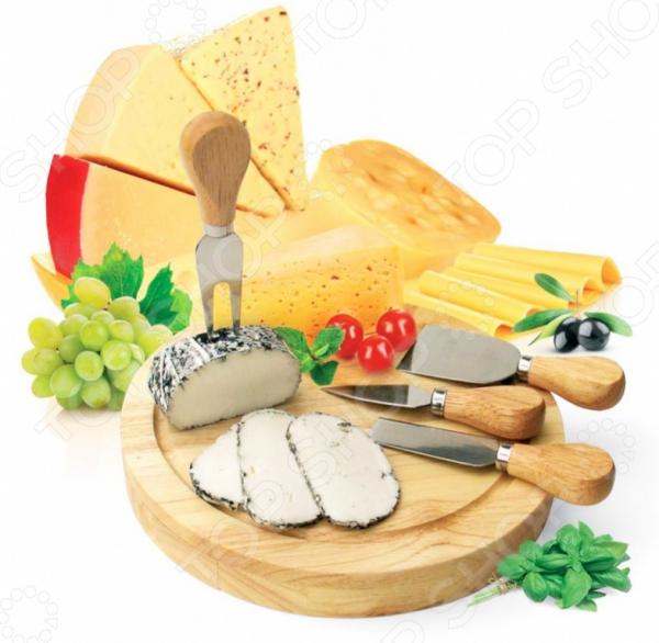 Набор для резки сыра из 4-х приборов и деревянной доски Bradex Рокфор точилка для ножей bradex рубин