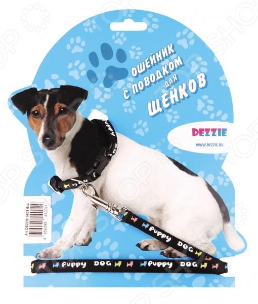 Ошейник с поводком для щенков DEZZIE Puppy Dog набор для щенков шлейка и поводок dezzie 5609547