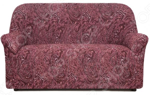 Натяжной чехол на двухместный диван «Виста. Руж»Чехлы на диваны<br>Удобно, практично, стильно! Поблекшие цвета, пятна и потертая изношенная обивка как бы нам не хотелось, но со временем мягкая мебель теряет свой первоначальный вид и начинает выглядеть совсем не презентабельно. Кто-то в этом случае спешит в магазин за новой, кто-то реставрирует старую, а кто-то просто покупает мебельный чехол. Сегодня, использование подобных чехлов набирает все большую популярность и на то есть, как минимум три причины:  это удобно вам потребуется не более минуты, чтобы преобразить любимый диван или кресло;  это практично при необходимости чехлы всегда можно снять и простирнуть в машинке;  это стильно над их созданием трудятся лучшие дизайнеры и художники-декораторы.  Натяжной чехол на двухместный диван Виста. Руж это отличный выбор для тех, кто хочет быстро, недорого и без особых усилий обновить свою мягкую мебель. Модель выполнена в красно-вишневой цветовой гамме и украшена ригинальным. Диван с такой обивкой органично впишется в интерьер вашей комнаты, подчеркнет общее стилистическое решение и поможет грамотно расставить цветовые акценты. Особенно гармонично он будет смотреться в сочетании с белыми, бежевыми и коричневыми цветами в интерьере. Точно на заказ сшит Что примечательно, натяжной чехол еще и весьма универсален. Он подходит для любых двухместных диванов, даже при условии, что последние сделаны на заказ и имеют, отличную от традиционной, форму. Весь секрет в том, что ткань чехла прострочена тонкими эластичными нитями. Благодаря этому, он хорошо тянется, отлично держит форму, не сборит и не сползает. Обратите внимание, что если ваша мебель выполнена из экокожи или кожзама, то для крепления чехла следует приорести специальные фиксаторы в комплект не входят . То же касается и крупногабаритной мебели.  Если говорить, о составе материала, то он является смесовым и состоит из равных частей хлопка и полиэстера. Среди преимуществ ткани стоит отметить:  прочность и износостойкость; 
