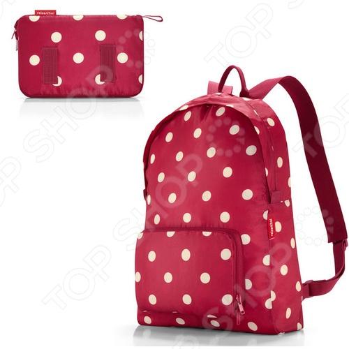 Рюкзак складной Reisenthel Mini maxi ruby dotsРюкзаки<br>Рюкзак складной Reisenthel Mini maxi ruby dots - удивительная находка для любителей путешествий, частых походов по магазинам, долгих прогулок или простых, но стильных вещей. Удобный и стильный рюкзак может уместиться в маленький и компактный чехол, который можно хранить в любой женской сумочке. Рюкзак имеет складную конструкцию. Его легко сложить в собственный внешний карман. Рюкзак вмещает около 14 л и имеет две удобные широкие лямки, которые позволяют распределить вес равномерно. Изделие изготовлено из прочного и долговечного полиэстера, который надолго сохранит свой внешний вид. Яркий и привлекательный дизайн рюкзака придется по вкусу любой моднице.<br>