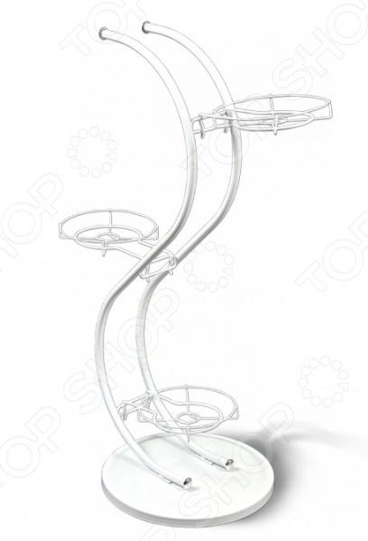 Подставка для цветов Sheffilton СплайнПодставки для цветов<br>Подставка для цветов Sheffilton Сплайн это мобильная подставка для цветов, которая может стать универсальным решением для любого помещения. На подставке предусмотрено 3 места для цветочных горшков диаметром 290 мм. Максимальная нагрузка на корзину составляет 3 кг, есть возможность регулировать вид расположения кронштейнов. Подставка полностью разборная. Можно отметить следующие характеристики:  Каркас выполнен из металлической трубы D16 мм, прутка D5 мм, пластиковой фурнитуры D24 мм, основание - металлический лист D350 мм ;  Максимальная нагрузка на чашу 3 кг.<br>