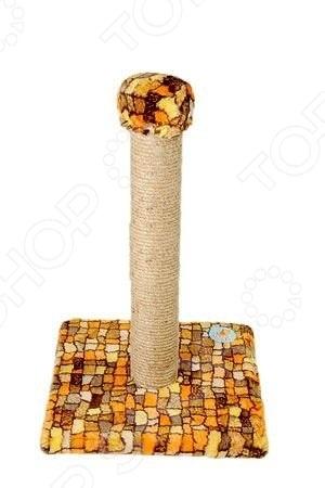 Когтеточка-столб ЗООНИК на подставке с мехом