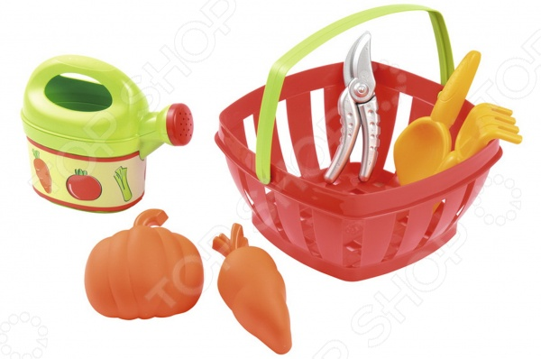 Набор для огорода в корзине Ecoiffier 567Сюжетно-ролевые наборы<br>Набор для огорода в корзине Ecoiffier 567 - отличный подарок для вашего малыша. С таким набором каждый ребенок сможет почувствовать себя настоящим огородником. Набор подходит как для игр в домашних условиях, так и на улице, в песочнице или на даче на настоящем огороде. Набор отлично подходит для сюжетно-ролевых игр, которые способствуют развитию фантазии, мышления, памяти, помогают освоить коммуникативные навыки. Выполнен из качественного, прочного и безопасного пластика.<br>