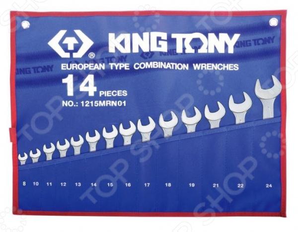 Набор ключей комбинированных King Tony KT-1215MRN01Комбинированные ключи<br>Комбинированные ключи представляют собой слесарные инструменты, используемые для ручного завинчивания и отвинчивания крепежных деталей. Они достаточно функциональны и находят применение в различных, как промышленных, так и бытовых областях. Продуманная конструкция и высокопрочные материалы Набор ключей комбинированных King Tony KT-1215MRN01 станет отличным дополнением к набору слесарных инструментов и пригодится при выполнении монтажных и демонтажных работ у вас дома, в гараже и на даче. Помимо этого, такой комплект также будет не лишним и на станциях техобслуживания, в производственных цехах и автослесарных мастерских. Ключи выполнены из легированной хромованадиевой стали. Данный металл отвечает всем требованиям стандартов и обеспечивает высокую надежность и износоустойчивость инструментов. Для обеспечения дополнительной прочности, ключи производятся методом горячей ковки с последующей термообработкой.  Среди особенностей предлагаемого набора стоит отметить:  Изгиб рожковой и накидной части ключей на 15 градусов обеспечивает удобство использования даже в местах с ограниченным доступом к крепежу.  Накидная часть инструментов имеет 12-гранный профиль, позволяющий работать с головками болтов и гаек как 6-ти, так и 12-гранного профиля.  Всегда под рукой Для удобства использования и быстрого доступа к инструментам, ключи упакованы в чехол с маркировкой размера. Он, в свою очередь, изготовлен из теторона материала на основе термопластика, отличающегося устойчивостью к воздействию кислот, щелочей и органических растворителей. Помимо прочего, по бокам чехла предусмотрены специальные проушины для крепления к рабочему стенду или к верстаку.<br>