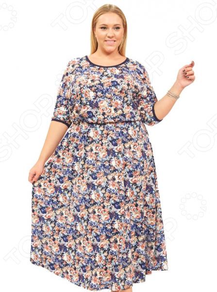 Платье Матекс «Шанталь». Цвет: синийПовседневные платья<br>Платье Матекс Шанталь это легкое платье, которое поможет вам создавать невероятные образы, всегда оставаясь женственной и утонченной. Благодаря свободному крою оно скроет недостатки фигуры и подчеркнет достоинства. В этом платье вы будете чувствовать себя блистательно в любой ситуации. Женственная длина ниже колена великолепно подойдет для любого типа фигуры. Можно отметить следующие преимущества:  Длина до щиколотки.  Круглый вырез горловины удлиняет шею и помогает области декольте выглядеть роскошно и соблазнительно.  На рукавах и горловине однотонная окантовка.  Внутри завязки, снаружи пришит пояс. Платье изготовлено из мягкой ткани 65 вискоза, 30 полиэстер, 5 лайкра , благодаря чему материал не скатывается и не линяет после стирки. Даже после длительных стирок и использования платье будет выглядеть прекрасно.<br>