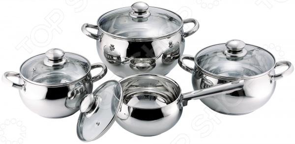 Набор посуды Bohmann BH-0508Наборы посуды для готовки<br>Набор посуды Bohmann BH-0508 качественный комплект кухонной утвари, который станет отличным помощником для создания кулинарных шедевров и поможет разнообразить ежедневное меню новыми блюдами. Набор посуды представлен тремя кастрюлями с крышками и ковшом с длинной рукояткой и крышкой. Изделия выполнены из многослойной нержавеющей стали. Она идеально подходит для приготовления пищи, так как не вступает в реакцию с продуктами питания. Покрытие посуды представлено зеркальной полировкой она не только придает изделиям эстетичный внешний вид, но и защищает от воздействия агрессивных веществ и резких перепадов температур. Капсульное дно быстро и равномерно распределяет тепло, помогает уменьшить количество используемого масла или жира, предотвращает пригорание пищи. Даже после отключения плиты блюдо еще достаточно долго будет оставаться теплым. Для удобства на внутренней стенке имеется шкала литража, чтобы вы могли соблюдать точные пропорции в соответствие с рецептом. Укомплектованные крышки изготовлены из термостойкого стекла, имеют отверстия для выхода пара. Металлические ободки защищают стекло от появления сколов и трещин, а также обеспечивают более плотную посадку крышки для сохранения тепла и аромата блюда. Кастрюли и ковш оснащены прочными стальными рукоятками на заклепках. В комплекте:  кастрюля большая: объем 6,7 литра, размер 24х15 см;  кастрюля средняя: объем 3,9 литра, размер 20х12,5 см;  кастрюля малая: объем 2,9 литра, размер 18х11,5 см;  ковш: объем 2,1 литра, размер 16х10,5 см;  крышки 4 шт.<br>