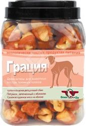 Лакомство для собак Green Qzin «Грация. Гусь в яблоке»Лакомства<br>Лакомство для собак Green Qzin Грация. Гусь в яблоке это аппетитное угощение, которое придется по вкусу даже самой привередливой собаке. Снек представляет собой профилактическое средство, которое не только понравится вашему псу, но и окажет положительное воздействие на организм, ведь фруктоза быстро наполняет организм энергией и усиливает снабжение клеток мозга питательными веществами, а клетчатка помогает вывести из организма шлаки Любой кинолог скажет вам, что собаку следует дрессировать на послушание, а сделать это с помощью лакомства это очень легко! Но это не всё, ведь снек является не просто выгодным элементом поощрения собаки, но и легким способом отвлечь вашего любимца от других собак или пугающих его громких звуков.<br>